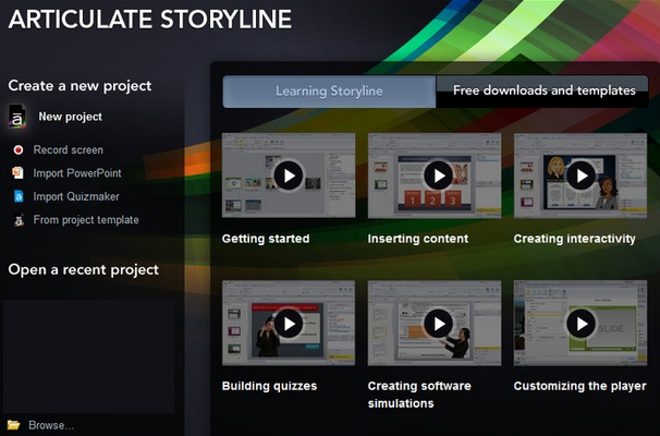 Screenshot of Articulate Storyline Launch Screen